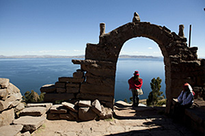 Lake Titicaca on the border between Peru and Bolivia